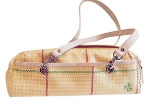 Ralph Lauren Clutch Removable Strap Plaid Canvas Satchel in White and Yellow