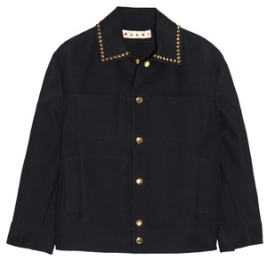 Marni Navy Blue Studded Nwot Midnight-Blue Jacket