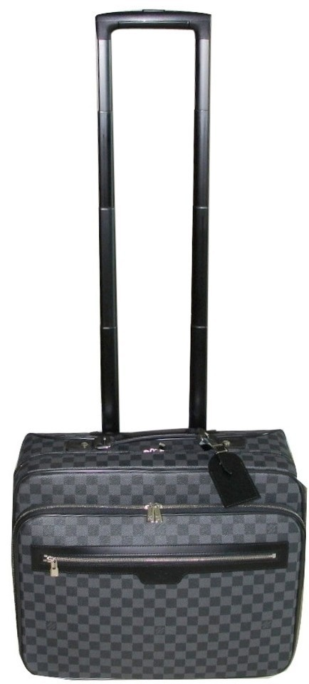 a26cf35cfae Louis Vuitton Rolling Briefcase Rolling Luggage Luggage On Wheels Mens  Damier Graphite Black Travel Bag Image ...