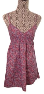 Divided by H&M short dress Purple Floral Sundress Babydoll Empire Waist Plunge on Tradesy