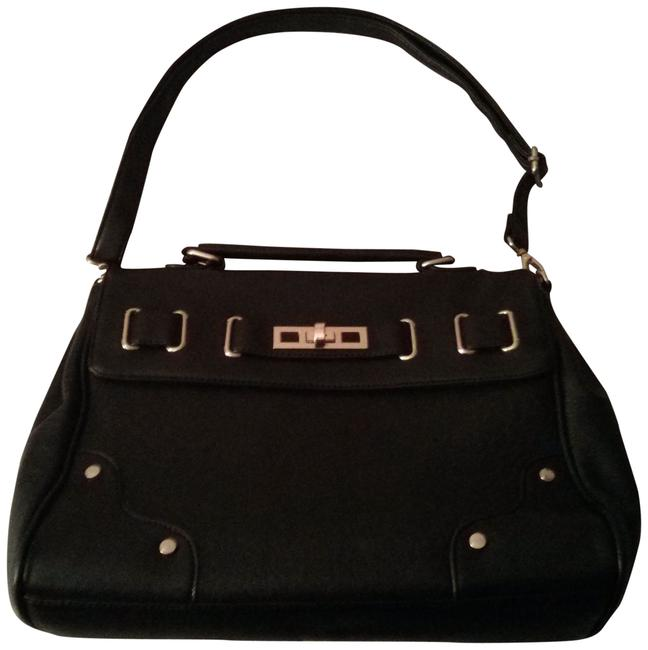 Item - Black and Gold Hardware Faux Leather Messenger Bag