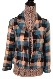 Divided by H&M Wool Print Plaid Checkered Blue Jacket