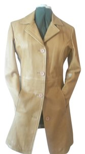 Vera Pelle Leather Proffesional Dry Clean Only Zip Out Lining Vintage Trench Coat
