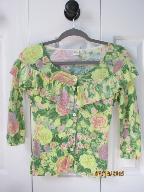 Anthropologie Watercolor Floral Cardigan Cotton Ruffle Sweater