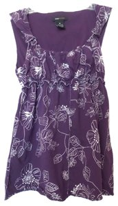 BCBGMAXAZRIA Bcbg Knit Floral Embroidery Cotton Medium Top Purple and White