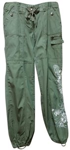 Mixit Embroidered Cargo Pants Olive green