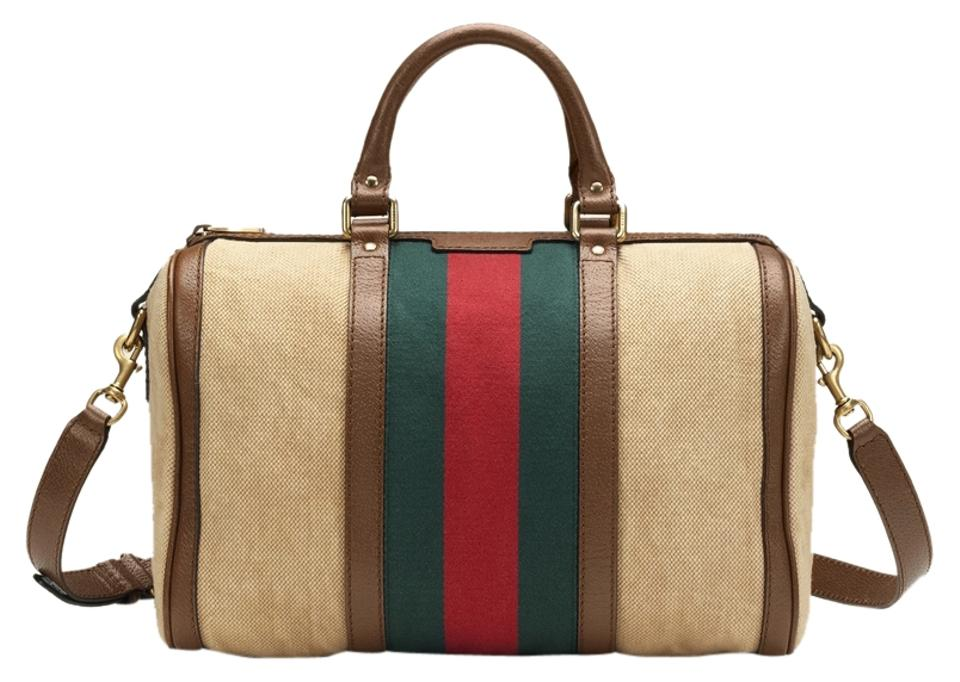 bff5340e0ca Gucci Vintage Web Boston Signature Made In Italy Handheld Strap Satchel in  Beige Image 0 ...