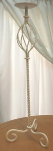 Shabby Chic Vintage Storybook Wedding Style Tall Twisted Metal Candle Stand