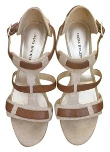 Dana Buchman Gladiator Sandal Open Toe Vegan Leather Linen natural linen Pumps