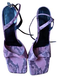 Roberto Cavalli Snakeskin Strappy Purple Sandals