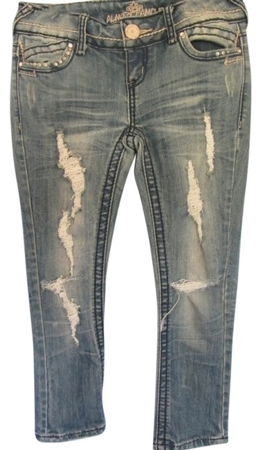 Preload https://img-static.tradesy.com/item/5311060/almost-famous-clothing-blue-denim-distressed-destroyed-capricropped-jeans-size-26-2-xs-0-0-650-650.jpg