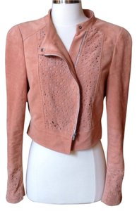 BCBGMAXAZRIA Suede Supple Leather Longsleeve Peach Jacket