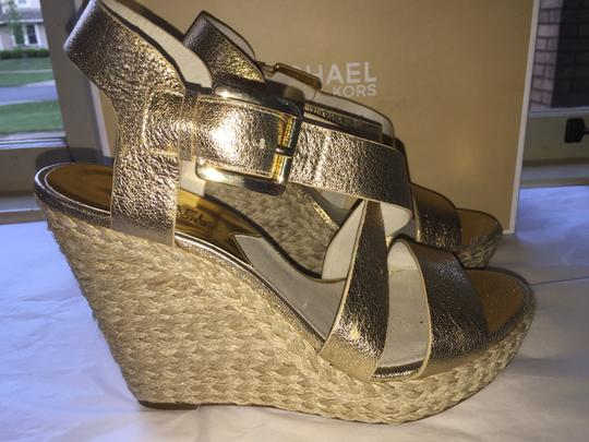 Michael Kors Leather Gold Wedges