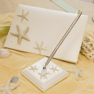 White Starfish Guest Book and Pen Set