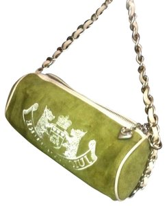 Juicy Couture Barrel Velour Leather Green Clutch