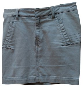 French Connection Denim Stitching Mini Stretchy Mini Skirt Light Grey