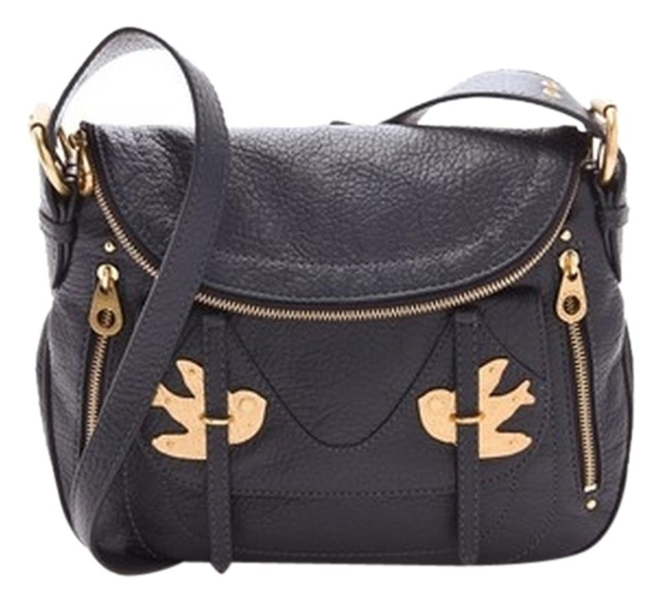 b4c2d3d0e9ed Marc by Marc Jacobs  petal To The Metal  Natasha Flap Crossbody Medium  Black Leather Shoulder Bag