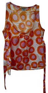 Anthropologie Cotton Geometric Pattern Tie Sleeveless Top White, Orange, Pink