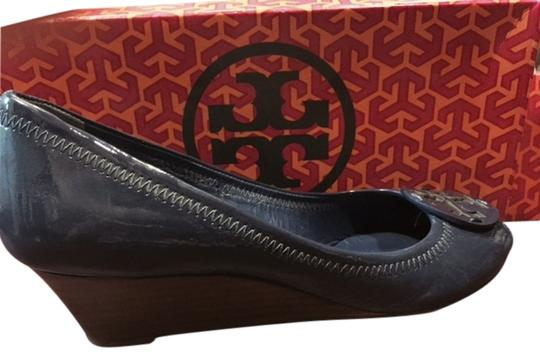 Tory Burch Blue Open Toe Persian Blue Wedges