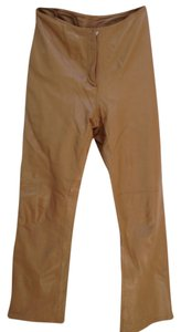 Donna Karan leather pants Straight Pants caramel/honey