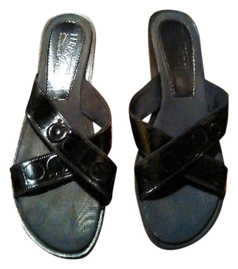 Salvatore Ferragamo Leather Slides Black Sandals