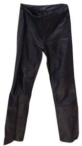 Donna Karan leather pants Boot Cut Pants Blac