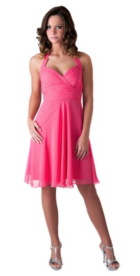 Pink Chiffon Halter Sweetheart Pleated Waist Bust Modest Bridesmaid/Mob Dress Size 2 (XS)