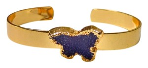 Druzy Agate Geode Gemstone Bracelet Gold Tone Purple Stone New J1176