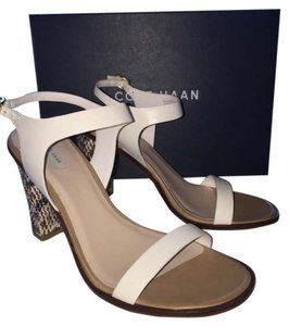 Cole Haan Leather Sole Leather Upper White and Black Sandals