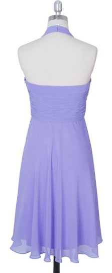 Purple Chiffon Halter Sweetheart Pleated Formal Bridesmaid/Mob Dress Size 8 (M)
