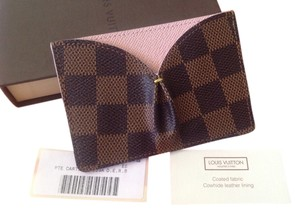 Louis Vuitton Louis Vuitton Damier Ebene Caissa Rose Ballerine Pleated Card Case Wallet