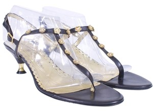 Juicy Couture Leather Embellished Kitten BLACK AND GOLD Sandals