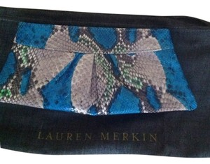 Lauren Merkin Blue/Grey/Green/White Clutch
