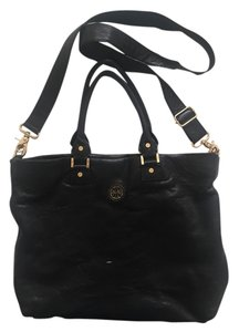 Tory Burch Leather Gold Hardware Strappy Black Messenger Bag