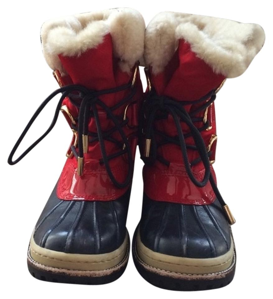 542589b40ec4 Tory Burch Red And Navy Snow Duck Boots Booties Size US 6 - Tradesy