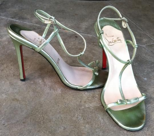 Christian Louboutin Leather Dressy Delicate metallic mint green Sandals
