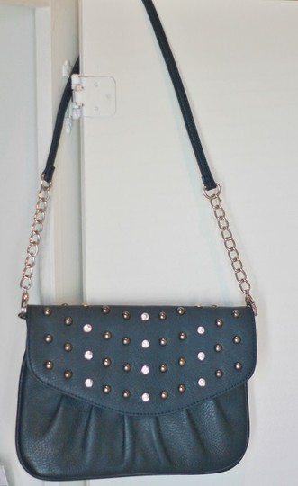 GA Jewelled Studded Formal Cocktail Navy Teal Clutch