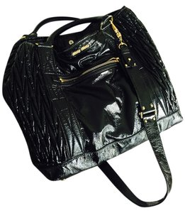 Miu Miu Patent Leather Tote in Black
