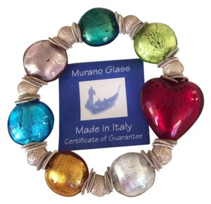Murano Glass Murano Glass Bracelet with Red Heart