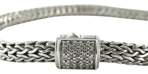 John Hardy JOHN HARDY DIAMOND STERLING SILVER MEN BRACELET LAVA MEDIUM SZM CABLE CHAIN PAVE