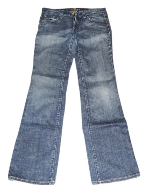 7 For All Mankind Faded Distressed Flare Boot Cut Jeans-Medium Wash