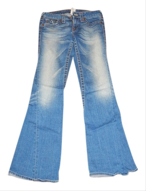 True Religion Faded Distressed Slimming Flare Leg Jeans-Distressed