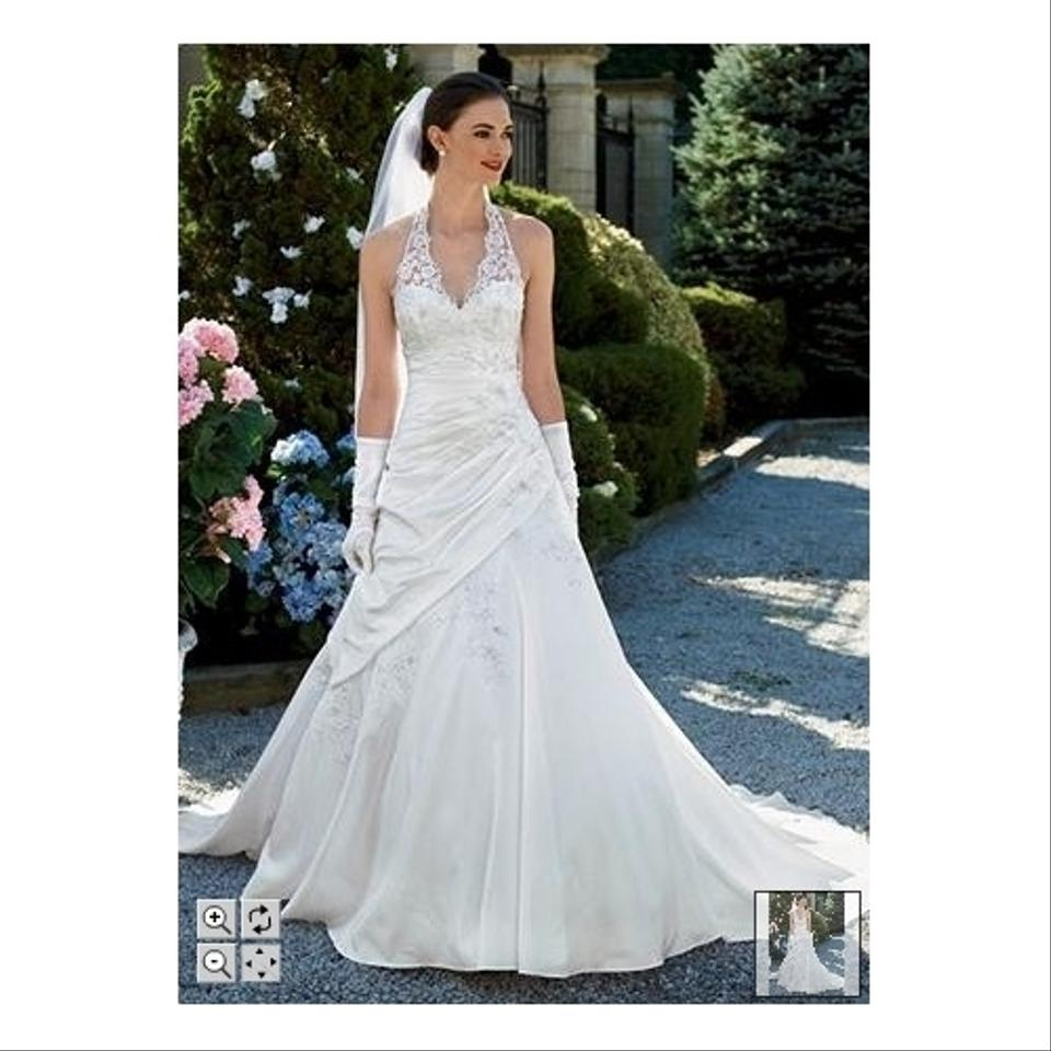 Lace Halter Wedding Gown: David's Bridal Taffeta Lace Halter A-line With Side Drape