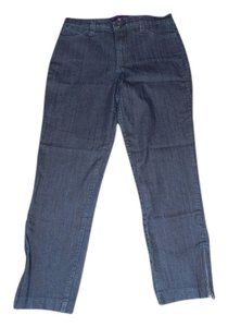 NYDJ Zipper Straight Leg Jeans-Dark Rinse
