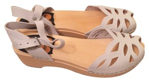 swedish hasbeens Clogs Wood Clogs Peep Toe White Sandals