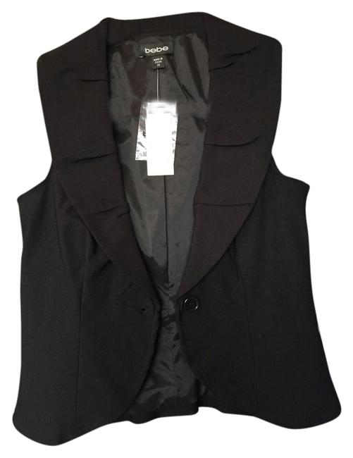 bebe Structured Fitted Ruffled Collar Vest