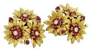 Tiffany & Co. 15222 - Tiffany & Co. Estate Vintage 18k Yellow Gold Diamond & Rubies Three Flower Earrings