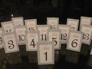 20 Silver Tone Centerpiece Bling Rhinestone Diamond Mesh Table Number Frame / Photo 4