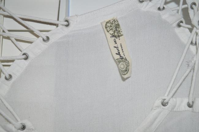Free People Long Sleeve Lace-up Lace Up Button Down Top White