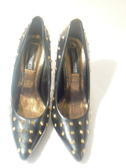 Fahrenheit Patent Leather 4+inch Heels New Size 9 Black/Gold Studs Pumps